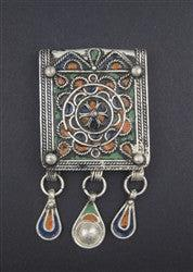 Fancy Enameled Rectangular Berber Pendant w/ Dangles