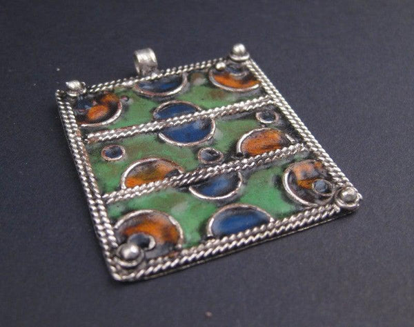 Rectangular Enameled Berber Pendant (Large)