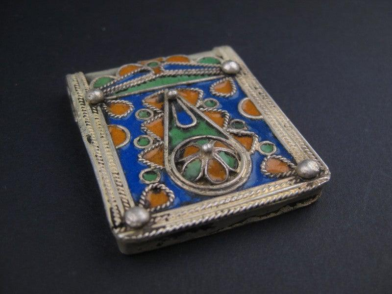 Fancy Enameled Rectangular Berber Pendant - The Bead Chest