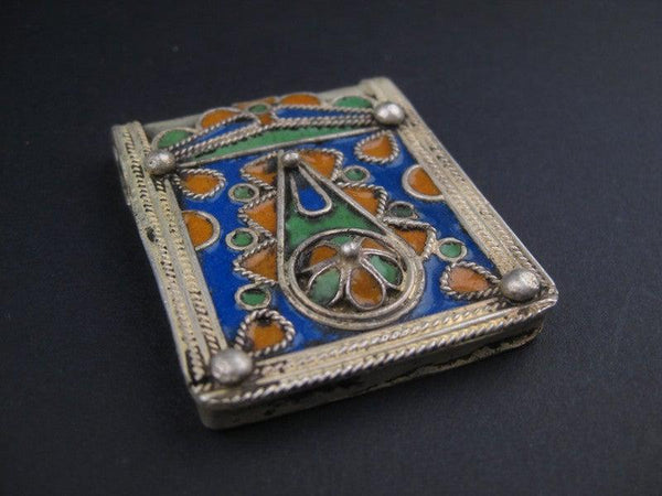 Fancy Enameled Rectangular Berber Pendant