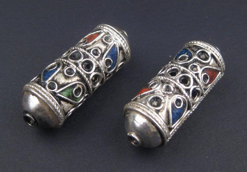 Artisanal Enameled Elongated Silver Berber Beads (2 pieces) - The Bead Chest