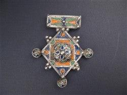 Image of Multicolor Enameled Berber Pendant (Large) - The Bead Chest