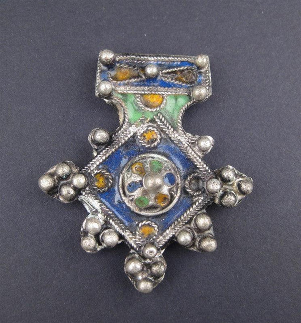 Multicolor Enameled Berber Pendant (Small) - The Bead Chest