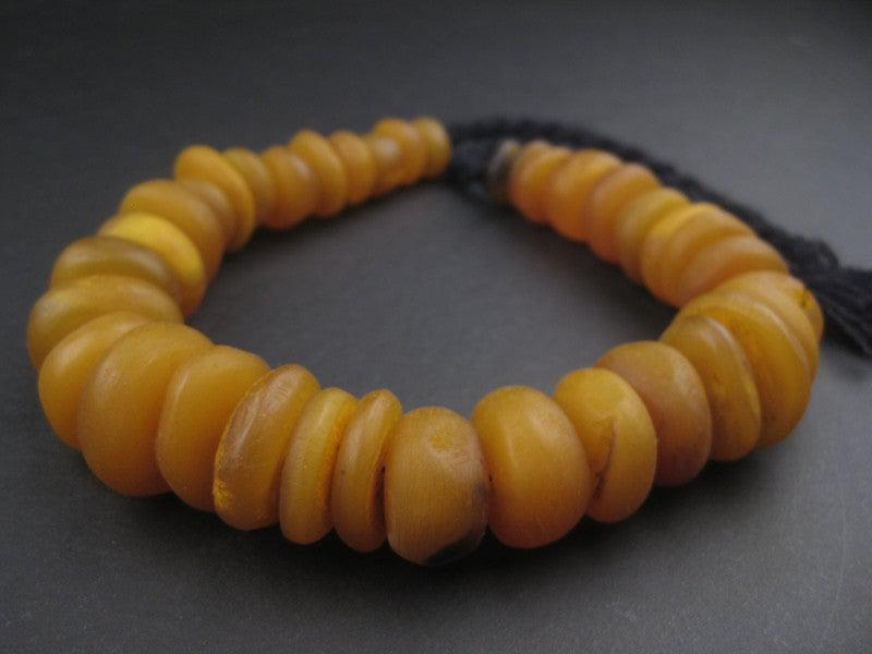 Amber Color Round Moroccan Horn Beads - The Bead Chest