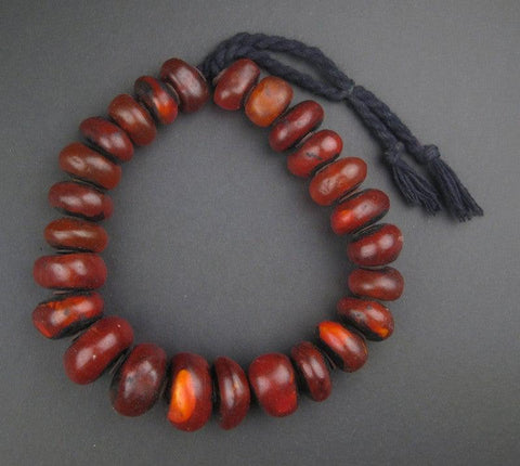 Image of Moroccan Translucent Cherry Amber Resin Beads (Graduated) - The Bead Chest