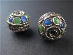 Enameled Blue-Green Berber Beads (2 pieces) - The Bead Chest