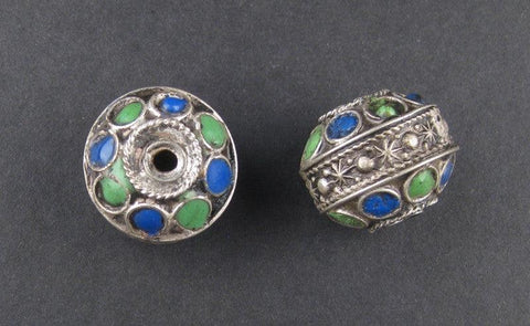 Image of Enameled Blue-Green Berber Beads (2 pieces) - The Bead Chest