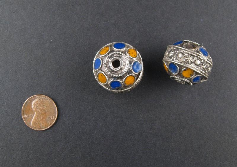 Enameled Blue-Orange Berber Beads (2 pieces) - The Bead Chest