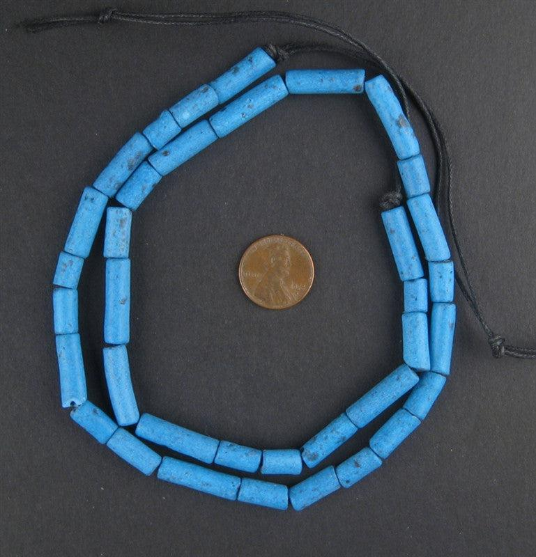 Turquoise Moroccan Pottery Beads (Cylinder) - The Bead Chest