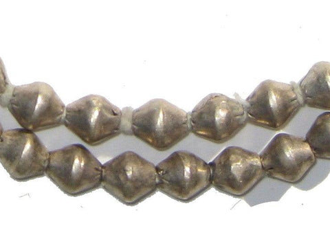 Image of Ethiopian White Metal Bicone Beads (8x7mm) - The Bead Chest