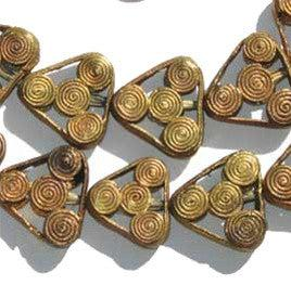 Image of Swirl Design Brass Filigree Triangle Beads - The Bead Chest