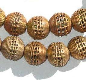 Woven Brass Filigree Globe Beads (20mm) - The Bead Chest