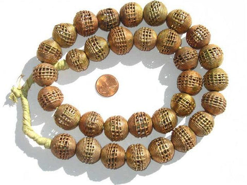 Image of Woven Brass Filigree Globe Beads (20mm) - The Bead Chest