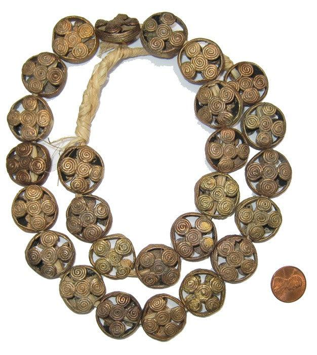 Brass Filigree Beads (Round, Flat), Flower Design - The Bead Chest