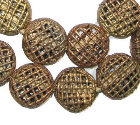 Flat Woven Circle Brass Filigree Beads (20mm) - The Bead Chest