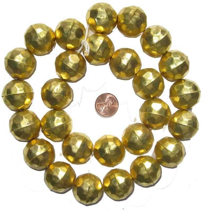 Faceted Aluminum Gold Color Beads (24mm) - The Bead Chest