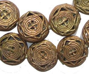 Star Design Circular Brass Filigree Beads (21mm) - The Bead Chest