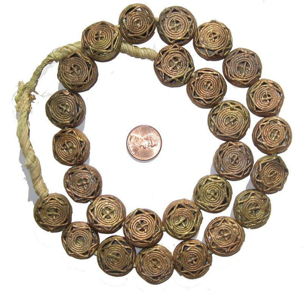 Brass Filligree Beads (Round, Flat), Star Design