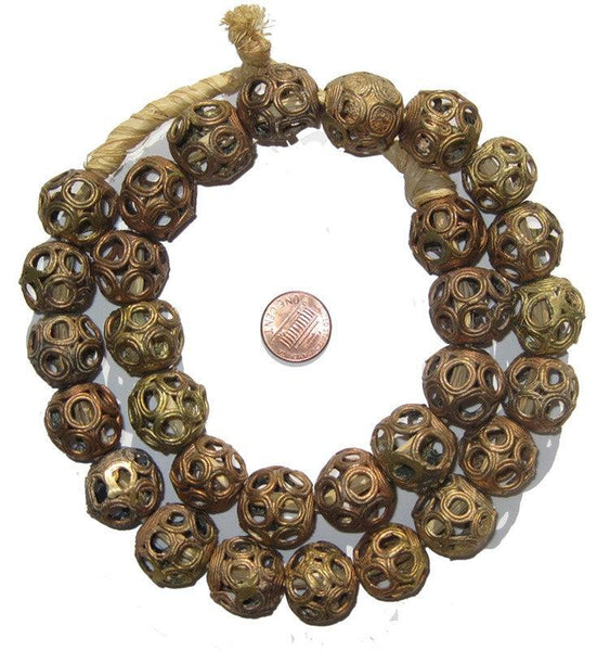 Brass Filligree Globe Beads (Large)