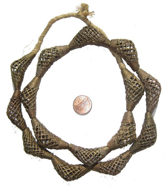 Woven Brass Filligree Elbow Beads (17x40mm)