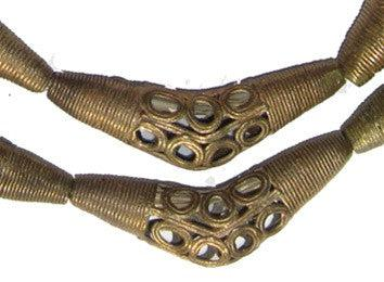 Eye Design Brass Filigree Elbow Beads (53x17mm) - The Bead Chest
