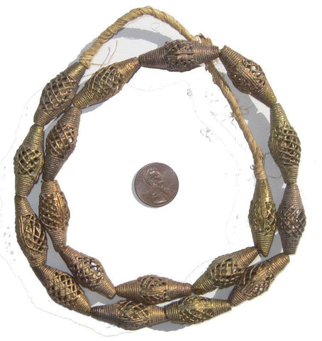 Image of Brass Filigree Beads Oblong, Basket Design (Small) - The Bead Chest