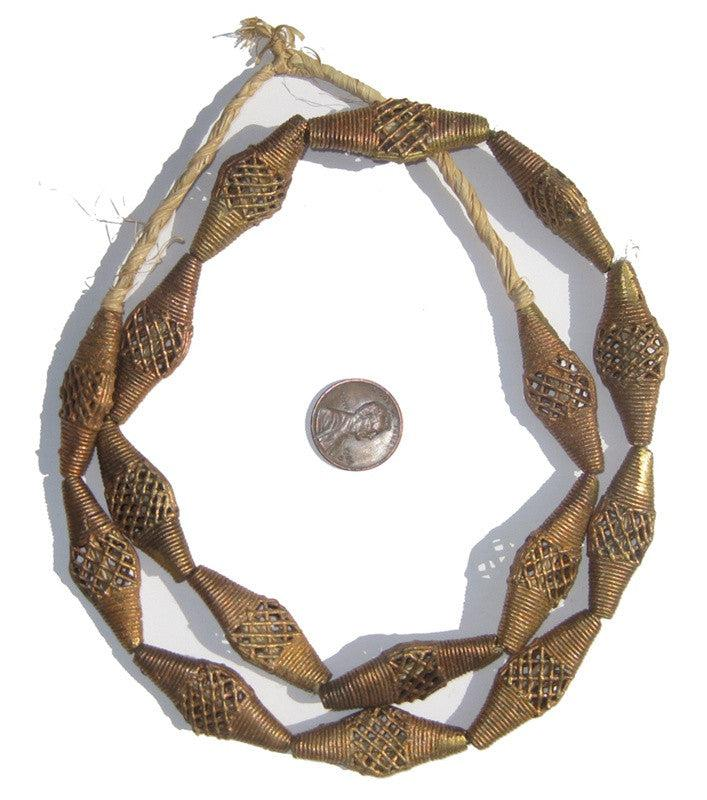 Brass Filigree Beads Bicone Flat, Basket Design (Small) - The Bead Chest