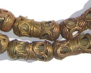 Eye Design Barrel Ghana Brass Filigree Beads (26x12mm) - The Bead Chest