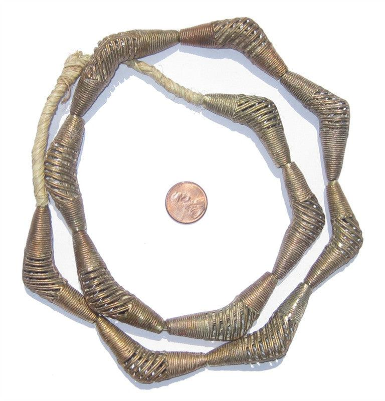 Striated Brass Filigree Elbow Beads (40x15mm) - The Bead Chest