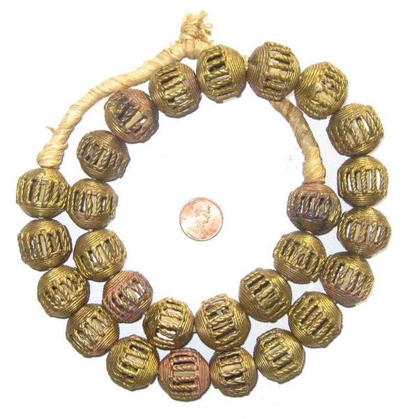Braided Brass Filligree Globe Beads (21mm)