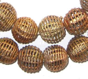 Image of Basket Design Brass Filigree Globe Beads (20mm) - The Bead Chest