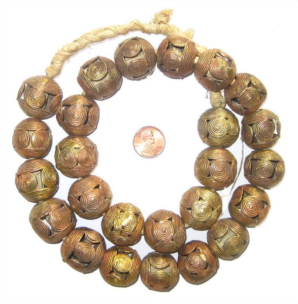Cameroon-Style Brass Filligree Globe Beads (24mm)