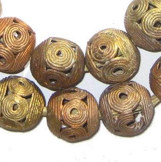 Spiral Brass Filigree Globe Beads (20mm) - The Bead Chest