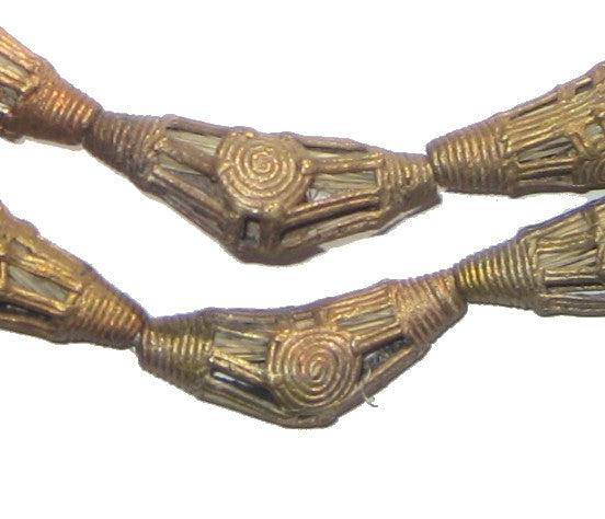 Striated Sun Brass Filigree Elbow Beads (40x12mm) - The Bead Chest