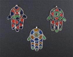 Enameled Hamsa Pendant (Set of 3)