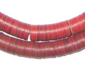 Vintage Red Phono Record Vinyl Beads (12mm) - The Bead Chest