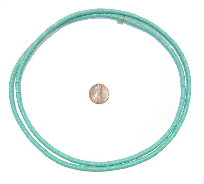 Turquoise Vinyl Phono Record Beads (4mm) - The Bead Chest