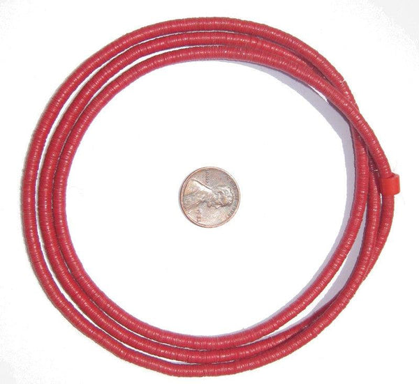 Red Vinyl Phono Record Beads (4mm)