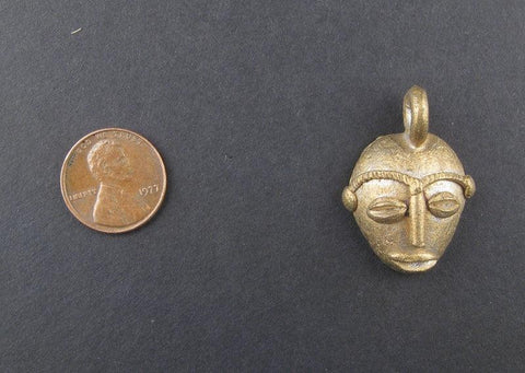 Image of Traditional Mask Brass Pendant from Africa - The Bead Chest