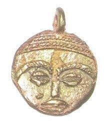 Flat Mask Brass Pendant from Africa
