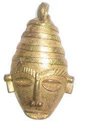 Traditional Mask Brass Pendant from Africa (Large) - The Bead Chest