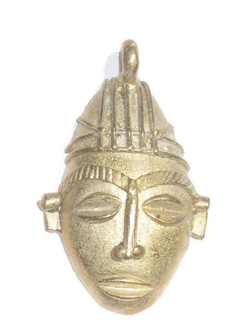 Image of Traditional Mask Brass Pendant from Africa (Large) - The Bead Chest