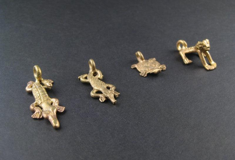 Amphibious Pack of Ghana Brass Pendants (4 pieces) - The Bead Chest