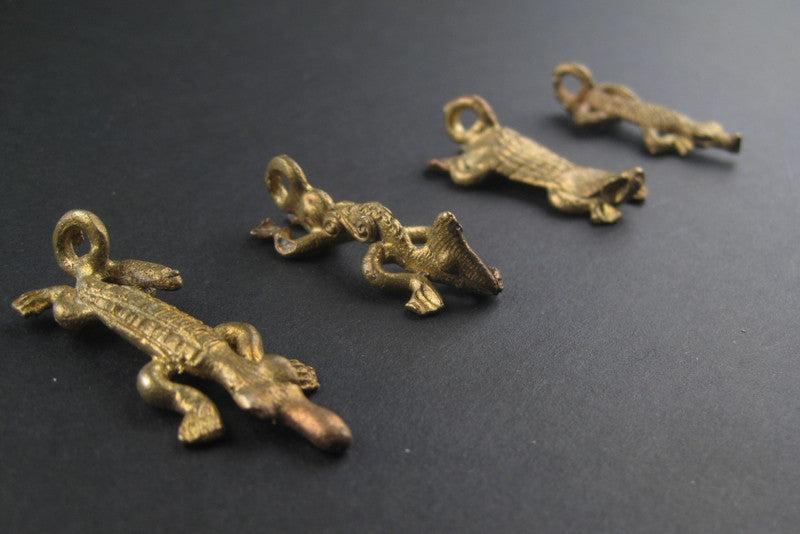 Reptilian Pack of Ghana Brass Pendants (4 pieces) - The Bead Chest