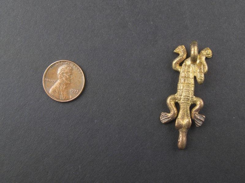 Alligator Brass Pendant from Africa - The Bead Chest