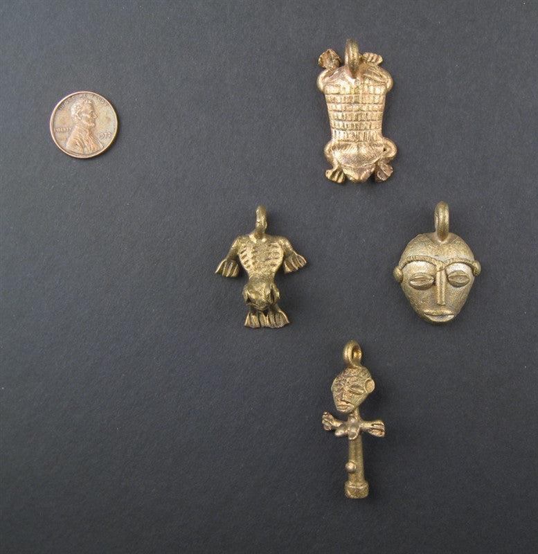 4 Piece Variety Bundle of Ghana Brass Pendants - The Bead Chest