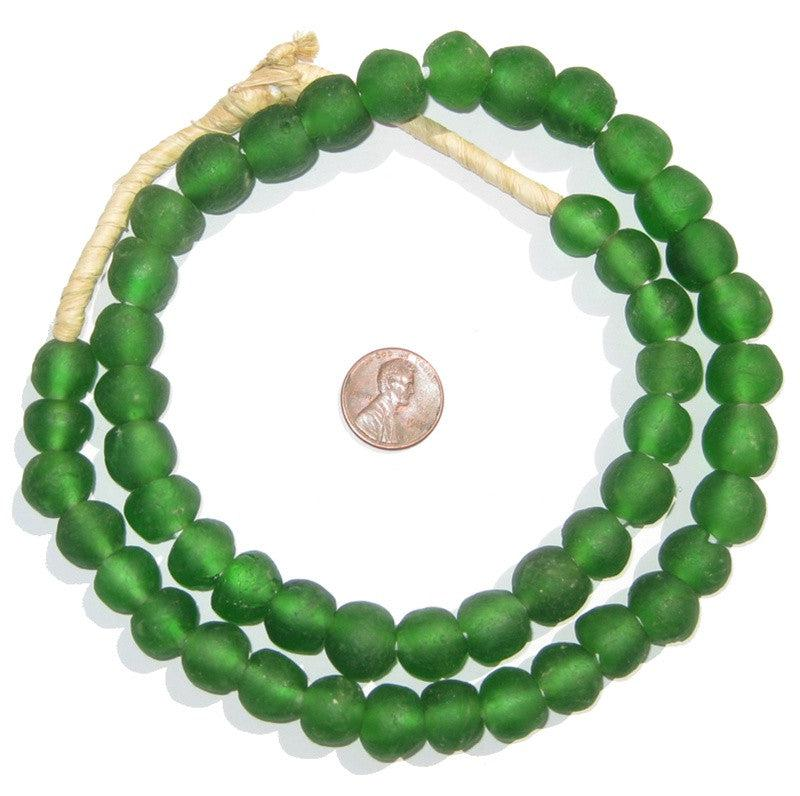 Green Recycled Glass Beads (14mm) - The Bead Chest
