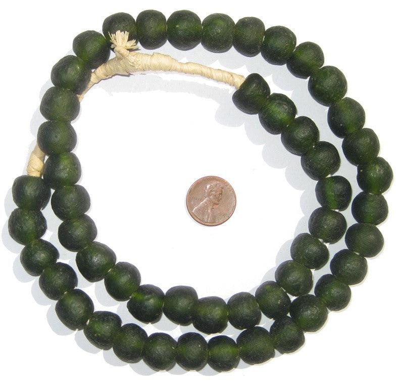 Forest Green Recycled Glass Beads (14mm) - The Bead Chest