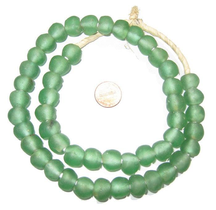 Light Green Recycled Glass Beads (14mm) - The Bead Chest