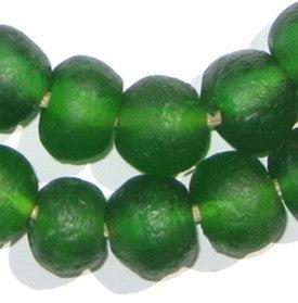 Green Recycled Glass Beads (18mm) - The Bead Chest